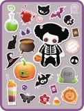 Set des Karikatur Halloween-Aufklebers Lizenzfreie Stockfotografie