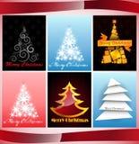 Set des Karten Weihnachtsbaums Stockbilder