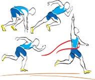 Set des laufenden Mannes die Ziellinie kreuzend Lizenzfreies Stockfoto