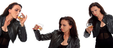 Set des Mädchens mit Glas Whisky stockbilder