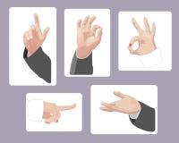 Set des männlichen und weiblichen Handgestikulierens Stockbilder