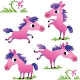 Set des netten rosa Karikaturponys Lizenzfreie Stockfotografie