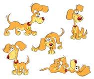 Set des orange lustigen Hundes lizenzfreie abbildung