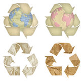 Set des Papieraufbereitensymbols getrennt Stockbilder
