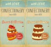 Set des Retro Menüs mit Kuchen Lizenzfreies Stockfoto