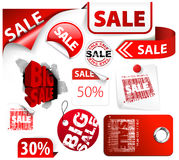 Set des roten Rabattes etikettiert, Kennsätze, Stempel Stockfoto