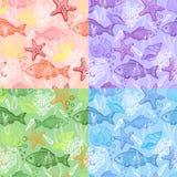 Set des Seehand gezeichneten nahtlosen Musters Lizenzfreie Stockfotos