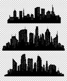 Set des vektorstadtschattenbildes Stockfotografie