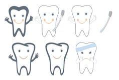 Set des Zahnes für zahnmedizinische Zeichen Lizenzfreies Stockfoto