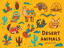 Set of desert animals Stock Photography