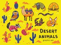 Set of desert animals Stock Photos