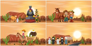 Set of desert scene stock illustration
