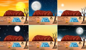 Set of desert scenes. Illustration vector illustration