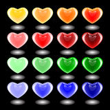 Set of design 3d multicolor heart icons. Emblems for Valentine's. Day and wedding. Vector-art illustration on a black background. EPS10 Stock Images