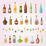 Set design alcohol bottles and glasses vector illustration.  Stock Images