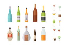 Set design alcohol bottles and glasses vector illustration.  Stock Photography