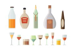 Set design alcohol bottles and glasses vector illustration.  vector illustration
