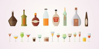 Set design alcohol bottles vector illustration. Isolated royalty free illustration