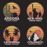 Set of design for american slogan t-shirt. Arizona, New York, Colorado and California typography graphics for grunge tee shirt. stock illustration