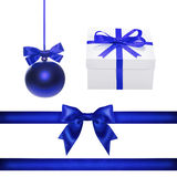 Set for design. Blue Christmas ball, ribbon, bow, gift box Stock Photography