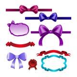 Set for design bows, ribbons Royalty Free Stock Photos