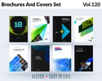 Set of design of brochure, abstract annual report, cover modern layout, flyer stock illustration