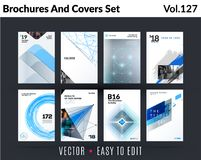 Set of design of brochure, abstract annual report, cover modern layout, flyer. In A4 with trend blue grey elements, shapes for business promotion, advertising stock illustration
