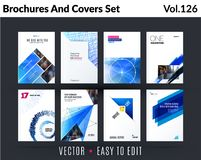 Set of design of brochure, abstract annual report, cover modern layout, flyer. In A4 with trend blue elements, shapes for business promotion, advertising stock illustration