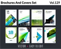 Set of design of brochure, abstract annual report, cover modern layout, flyer. In A4 with trend green elements, shapes for business promotion, advertising Stock Images