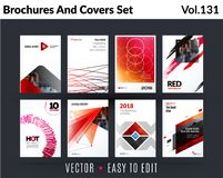 Set of design of brochure, abstract annual report, cover modern layout, flyer. In A4 with trend red pink elements, shapes for business promotion, advertising vector illustration