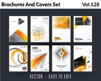 Set of design of brochure, abstract annual report, cover modern layout, flyer. In A4 with trend yellow grey elements, shapes for business promotion, advertising Stock Photos