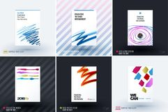 Set of design of brochure, abstract annual report, cover modern layout. Flyer in A4 with trendy blue red sketch chaos lines, abstract shapes for finance with Stock Images