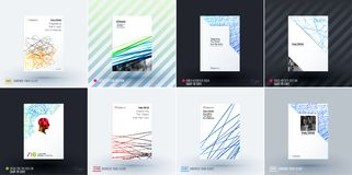 Set of design of brochure, abstract annual report, cover modern layout. Flyer in A4 with trendy colourful sketch chaos lines, abstract shapes for finance with Stock Photo