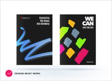 Set of design of brochure, abstract annual report, cover modern layout. Flyer in A4 with trendy colourful sketch chaos lines, abstract shapes for finance with Royalty Free Stock Photography