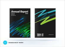 Set of design of brochure, abstract annual report, cover modern layout. Flyer in A4 with trendy green sketch chaos lines, abstract shapes for finance with Stock Image
