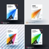 Set of design of brochure, abstract annual report, cover modern layout. Flyer in A4 with trendy colourful polygons triangles, abstract shapes for finance with Stock Image