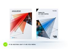 Set of design of brochure, abstract annual report, cover modern layout. Flyer in A4 with trendy red blue polygons triangles, abstract shapes for finance with Stock Photography