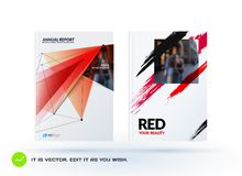 Set of design of brochure, abstract annual report, cover modern layout. Flyer in A4 with trendy red polygons triangles, abstract shapes for finance with vector Royalty Free Stock Photos