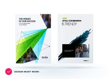 Set of design of brochure, abstract annual report, cover modern layout. Flyer in A4 with trendy green polygons triangles, abstract shapes for finance with Royalty Free Stock Photography