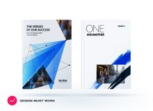 Set of design of brochure, abstract annual report, cover modern layout. Flyer in A4 with trendy blue polygons triangles, abstract shapes for finance with Royalty Free Stock Photography