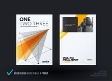 Set of design of brochure, abstract annual report, cover modern layout. Flyer in A4 with trendy yellow polygons triangles, abstract shapes for finance with Royalty Free Stock Photos