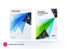 Set of design of brochure, abstract annual report, cover modern layout. Flyer in A4 with trendy blue polygons triangles, abstract shapes for finance with Stock Photo