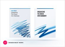 Set of design of brochure, abstract annual report, cover modern layout. Flyer in A4 with trendy blue sketch chaos lines, abstract shapes for finance with Royalty Free Stock Images