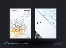 Set of design of brochure, abstract annual report, cover modern layout. Flyer in A4 with trendy yellow blue sketch chaos lines, abstract shapes for finance Royalty Free Stock Image