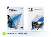 Set of design of brochure, abstract annual report, cover. Set of design of brochure, abstract annual report, cover modern layout, flyer in A4 with trendy blue Stock Photos