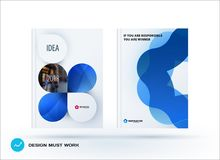 Set of design brochure, abstract annual report. Horizontal cover layout, flyer in A4 with vector blue colourful rounded shape for promotion, advertisement Royalty Free Stock Images