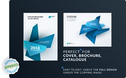 Set of design brochure, abstract annual report, horizontal cover layout, flyer in A4 with vector colourful geometric royalty free illustration