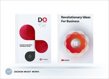 Set of design brochure, abstract annual report. Horizontal cover layout, flyer in A4 with vector red grey rounded shape for promotion, advertisement. Business vector illustration