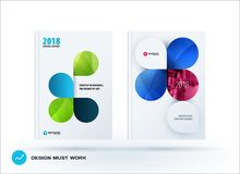 Set of design brochure, abstract annual report. Horizontal cover layout, flyer in A4 with vector colourful rounded shape for promotion, advertisement. Business Royalty Free Stock Image