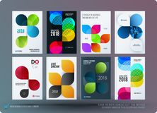 Set of design brochure, abstract annual report. Horizontal cover layout, flyer in A4 with vector colourful rounded shape for promotion, advertisement. Business Stock Photography
